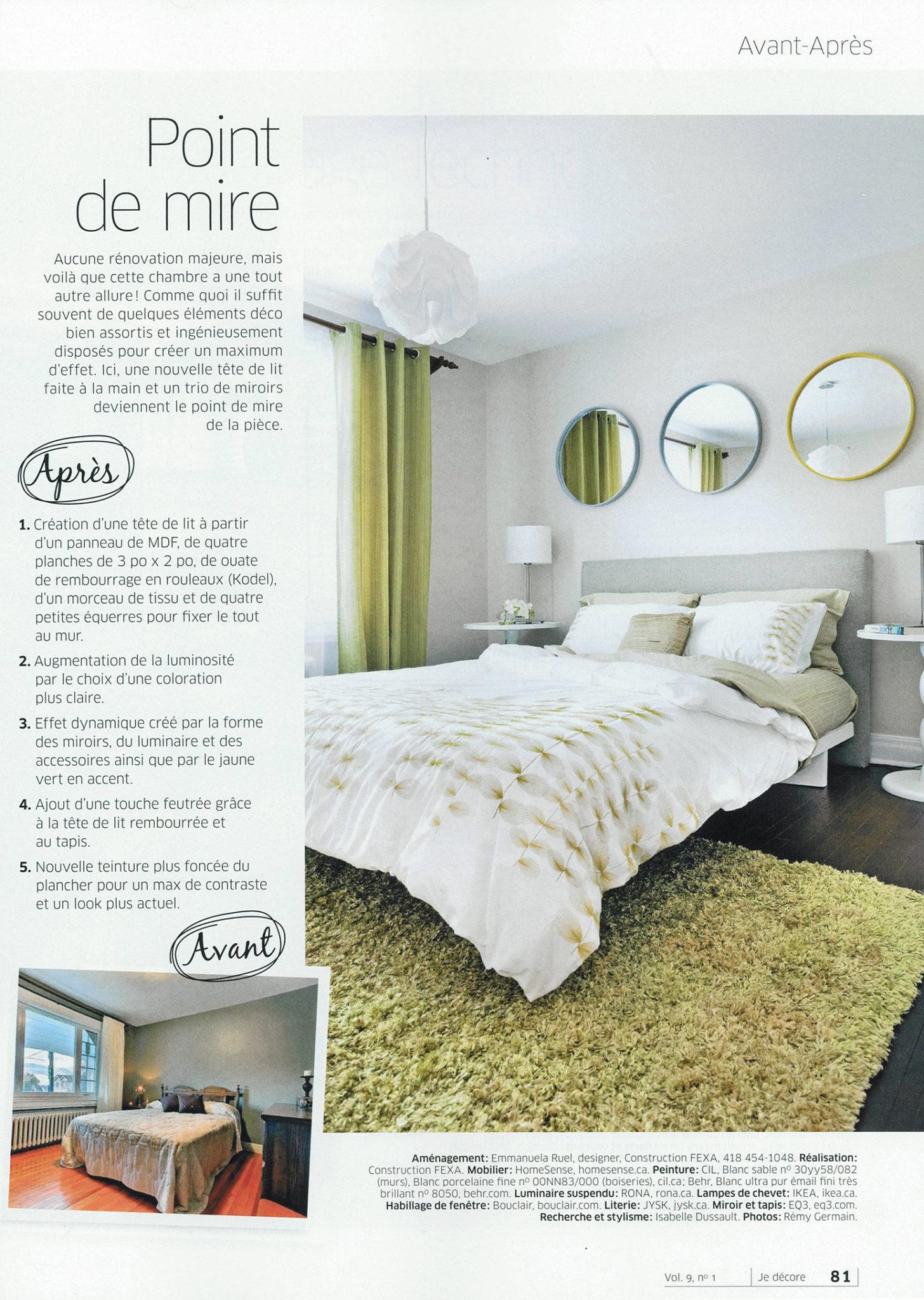 Parutions FEXA, Je décore chambre Vol. 9 no1, rénovation, décoration chambre