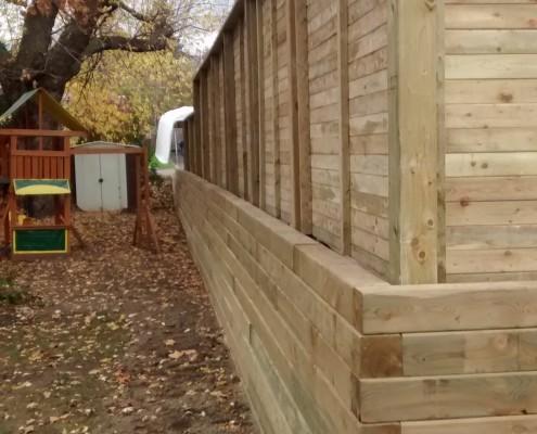 Mur de soutènement bois traité, clôture en bois traité, FEXA Entrepreneur général