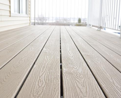 Terrasse compositie Trex, système de gouttière Trex, FEXA rénovation