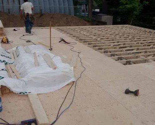 Construction maison neuve, sous plancher, structure érigée par FEXA Construction, Entrepreneur Général
