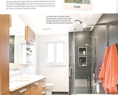 Parution FEXA, Déco Réno Salle de bain, deco salle de bain, comptoir quartz, amenagement salle de bain, rangement salle de bain, meuble salle de bain
