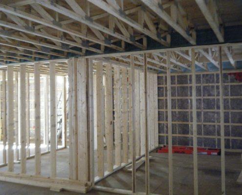 Construction structure, Divisions intérieures, ossature de bois, FEXA construction, Entrepreneur général