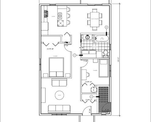 Construction maison neuve, construciton multiplex, Duplex à vendre rue Court-Métrage à Québec, Clef en main, plan d'aménagement RDC, FEXA Construction, Entrepreneur général