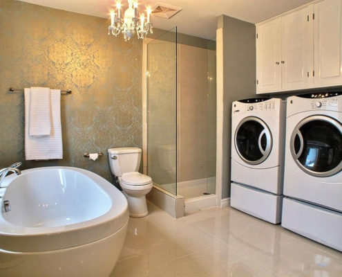 Rénovation salle de bain, bain autoportant, douche indépendante, salle de bain glamour, armoire salle de bain, douche panneau de verre, FEXA salle de bain